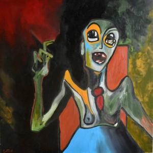 L'assistante, huile sur toile, 80X80 cm, 2014