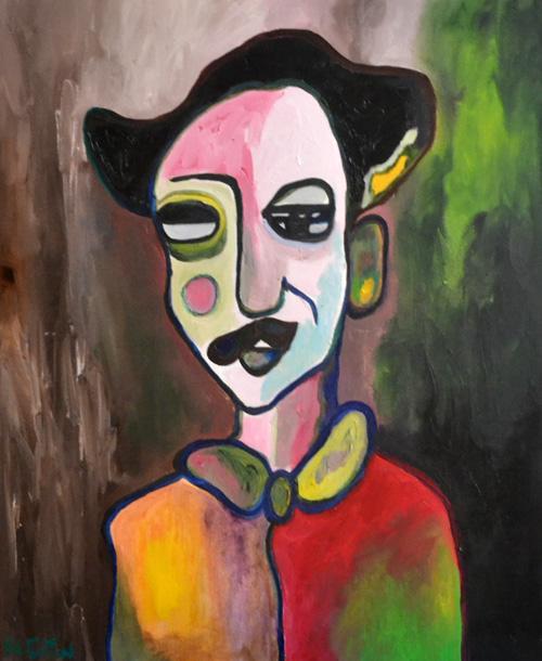 Le magicien, huile sur toile, 50X60 cm ,2014