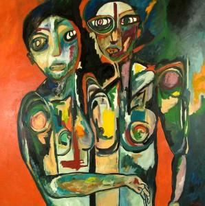 Siamoises. Huile sur toile, 200X200 cm, 2010