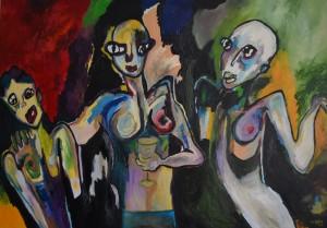 A la fête, huile sur toile, 114x162 cm, 2013
