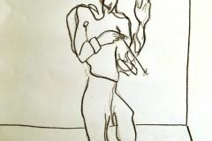 Flûtiste, crayons gras sur papier A4 2011