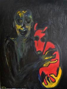 Le chien rouge huile sur toile, 90X70 cm 2014