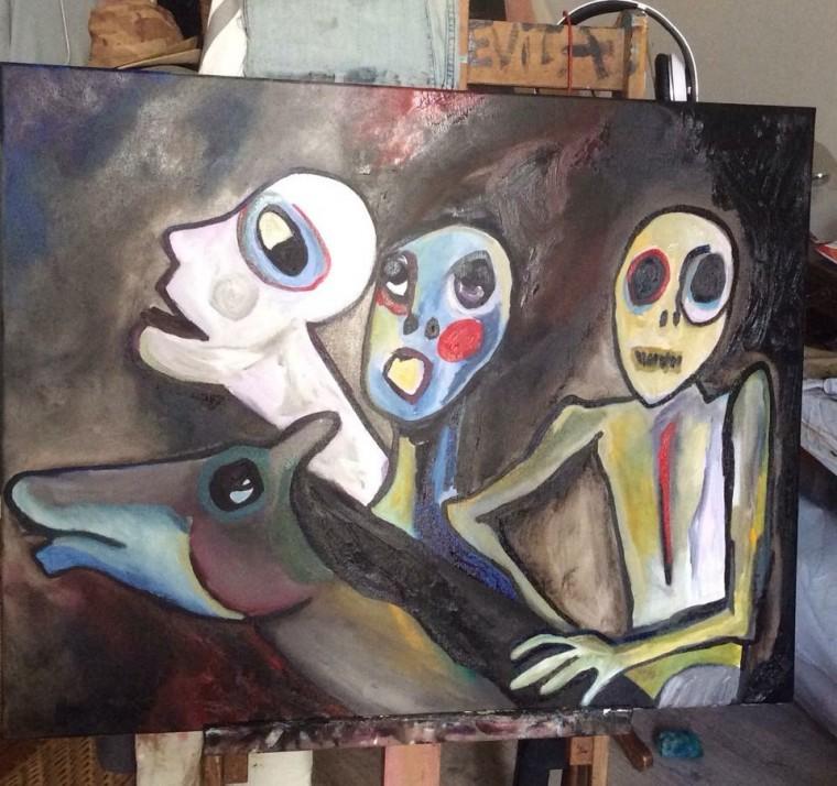 La Mama, huile sur toile, 89x130cm